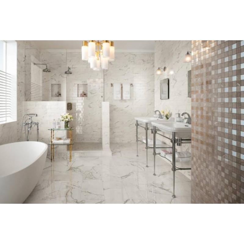 Mattonella carrara 60x60 cm lucida for Gres porcellanato effetto marmo lucido prezzi