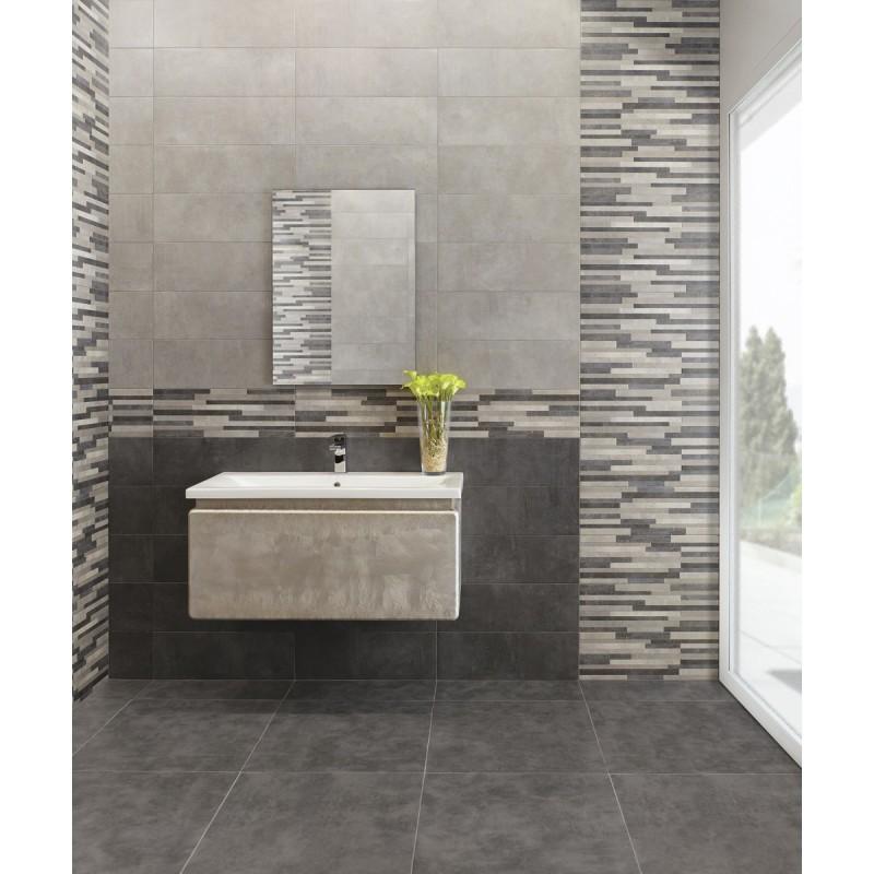Bagno grigio e argento for Piastrelle bagno mosaico grigio