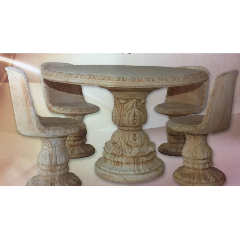 Tavolo con sedie in cemento