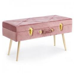 Panca con contenitore in velluto rosa