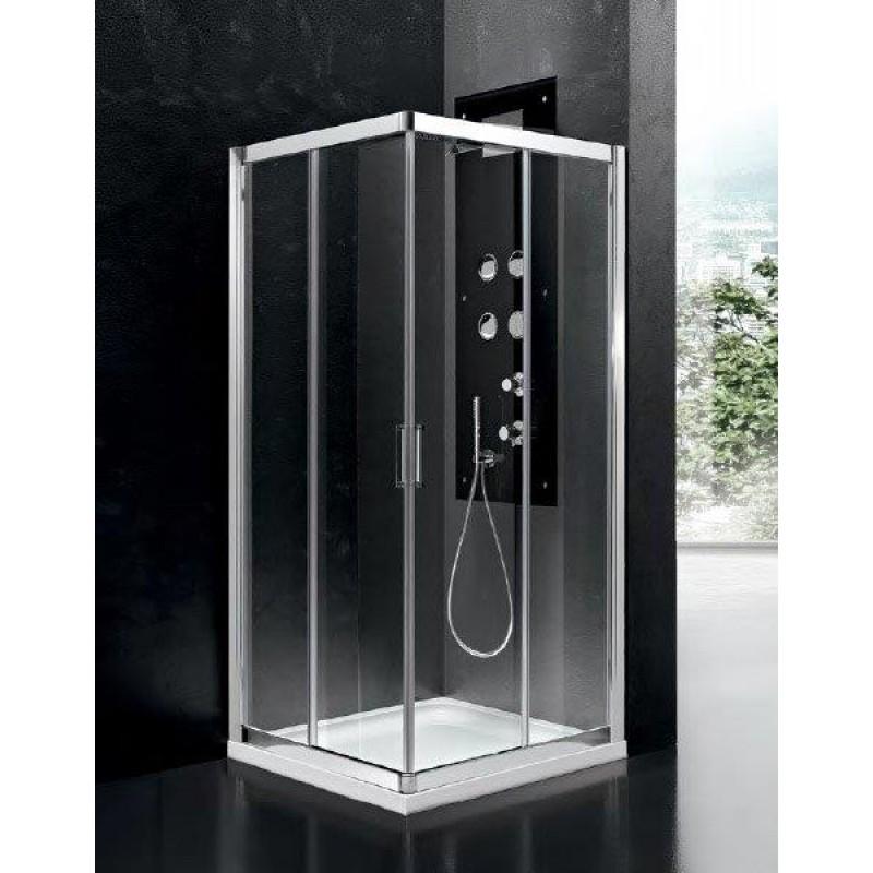 Box doccia in cristallo, spessore vetro 6 mm , profilo alluminio cromato 70x70. Prodotto italiano.