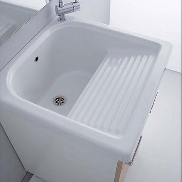 Lavatoio in ceramica con strizzatoio esterno 50 x 60 cm.