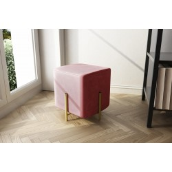 Pouf quadrato in velluto rosa 30x30