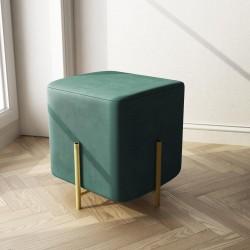 Pouf quadrato in velluto verde 30x30