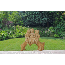 Statua Tronco con tre bimbi