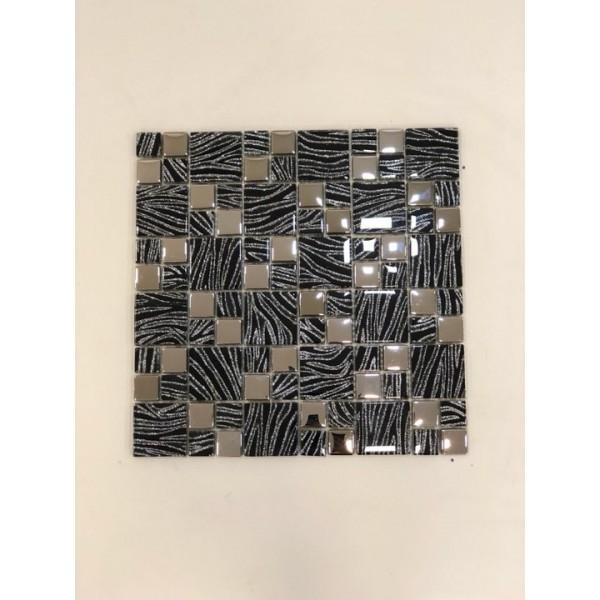 Mosaico su rete Glitter Nero - 30x30 Cm
