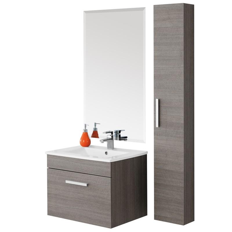 Mobile da bagno show 60 rovere scuro for Consolle bagno ikea