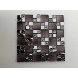 Mosaico su rete Legno Brown - 30x30 Cm