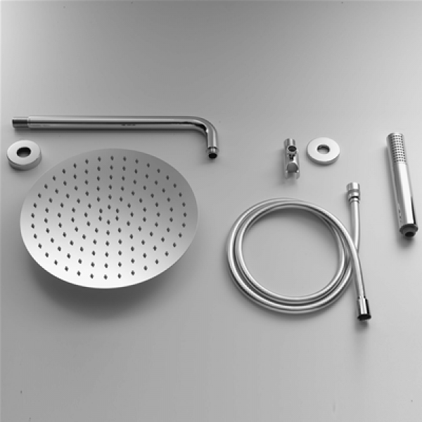 Soffione acciaio inox tondo 20x20 - kit completo