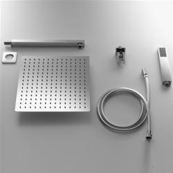 Soffione acciaio inox quadro 20x20 - kit completo
